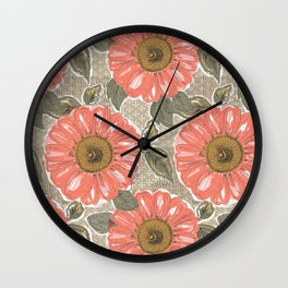 Bold Budding Floral Wall Clock