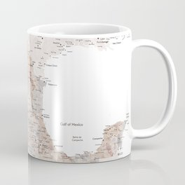 Detailed map of Mexico in neutral watercolor Coffee Mug