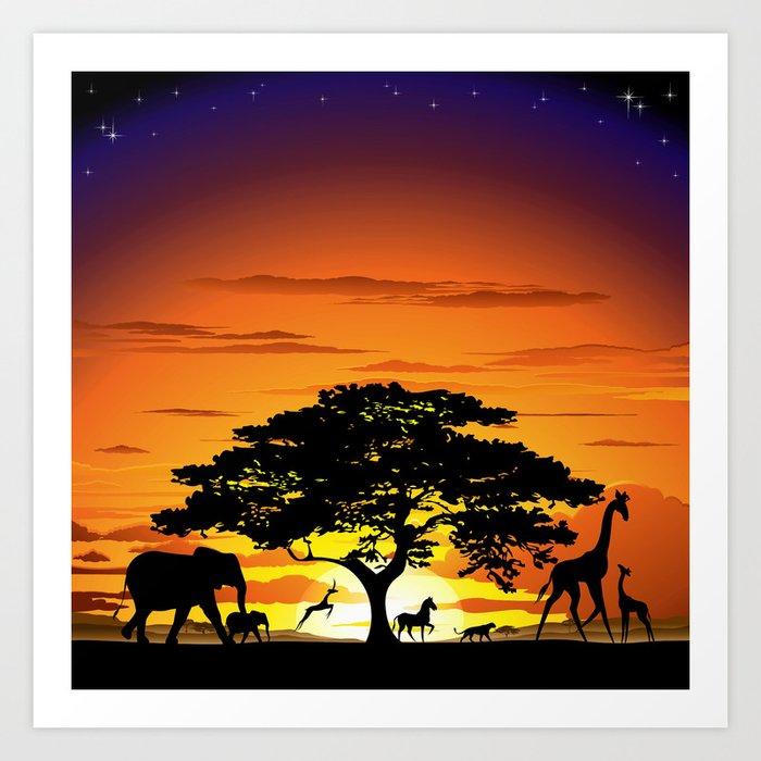 Wild Animals On African Savanna Sunset Art Print By