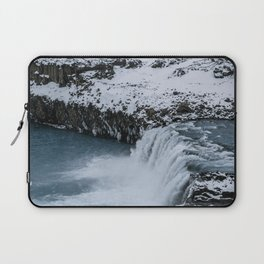 Waterfall in Icelandic highlands during winter with mountain - Landscape Photography Laptop Sleeve