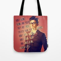 david tennant Tote Bags featuring DON'T BLINK! David Tennant - Doctor Who by KanaHyde