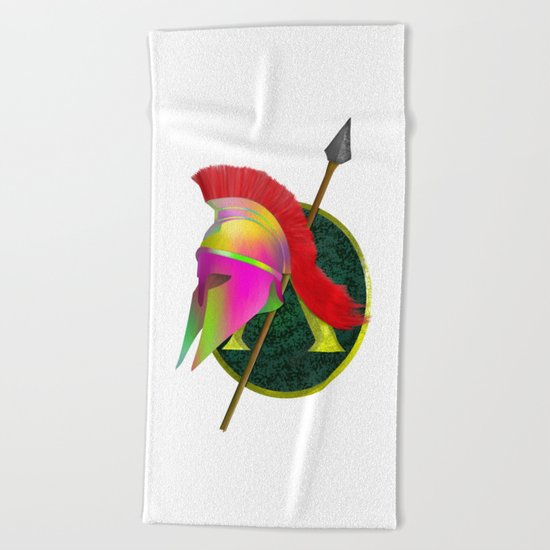Spartan Helmet Colorful Beach Towel