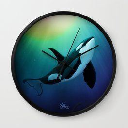 """The Dreamer Ascends"" by artist Amber Marine ~ (Copyright 2015) ~ Orca / Killer Whale Art Wall Clock"
