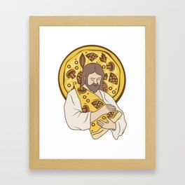 Pizza We Hug You Hipster Gift For Pizza Lover Framed Art Print