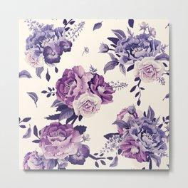 Purple floral boho pattern Metal Print