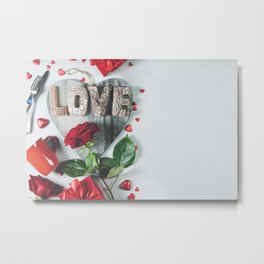 Valentine's day background, flat lay, top view Metal Print
