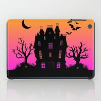 haunted mansion iPad Cases featuring Haunted Silhouette Rainbow Mansion by rainbowdreams