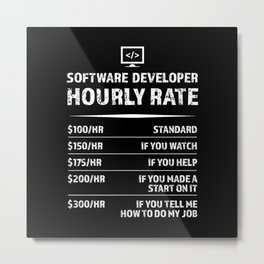 Software Developer Hourly Rate |  Gift Metal Print