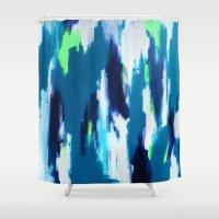 ikat Shower Curtains featuring Ikat by kristinesarleyart