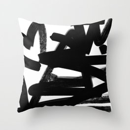 Thinking Out Loud - Black and white abstract painting, raw brush strokes Throw Pillow