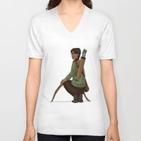katniss V-neck T-shirts featuring Katniss Everdeen by Kate O