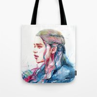 shipping Tote Bags featuring Dragonqueen by Alice X. Zhang