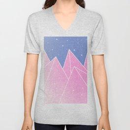 Sparkly Pink Crystals Design Unisex V-Neck