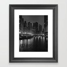 Chicago River at Night Framed Art Print
