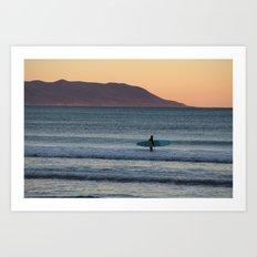 Surfer at sunset Art Print