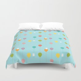 Fluffy bunnies and the rainbow balloons pattern Duvet Cover