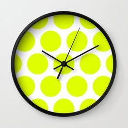 Chartreuse Large Polka Dots Wall Clock