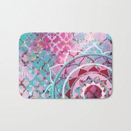 Pink and Turquoise Mixed Media Mandala Bath Mat