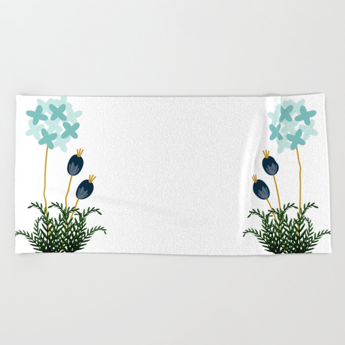 Blue Flower Beach Towel