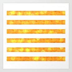 Bokeh Stripes Gold And White - Glam Art Print