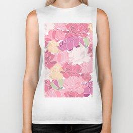 Rose Peony Flowers Biker Tank