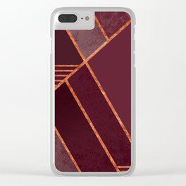 DARK RUBY PURPLE COPPER MARBLE BLUSH GEOMETRIC Clear iPhone Case