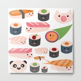 Kawaii sushi white Metal Print