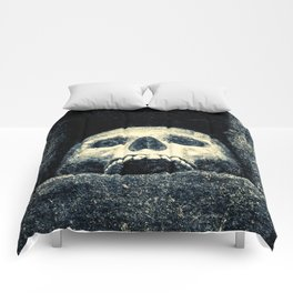 Old Human Skull In A Pagan Temple Comforters