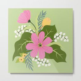 Blooming Colorful Composition Green Metal Print