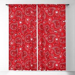 Retro Dog Paisley - Red Blackout Curtain