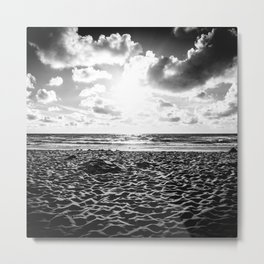 Lovely Sunset at the Sea | Beach Sunset | Dutch Coast | Callantsoog, The Netherlands | Black & White Metal Print