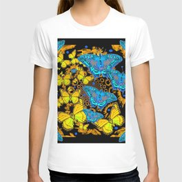 DECORATIVE BLUE & GOLD BUTTERFLIES ON EBONY BLACK T-shirt