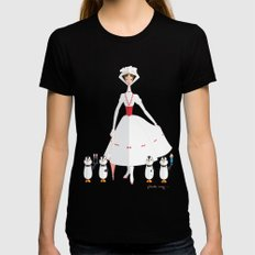 Mary Poppins LARGE Black Womens Fitted Tee