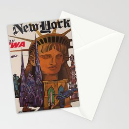 retro New York old psoter Stationery Cards