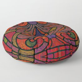 Art Nouveau Glowing Stained Glass Window Design Floor Pillow