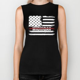 Michigan Firefighter Gift for Texas Firemen and Firefighters Thin Red Line Biker Tank