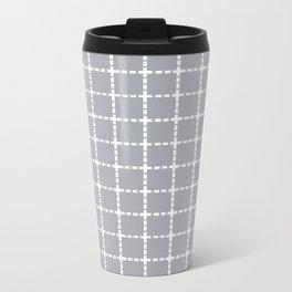 Dotted Grid Grey Metal Travel Mug
