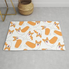 Fun Pembroke Welsh Corgi Pattern Rug