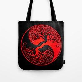 Red and Black Tree of Life Yin Yang Tote Bag