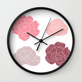Sweet Peony flowers collection Vector Illustration Wall Clock