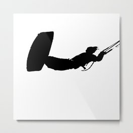 Getting High Kiteboarder Silhouette Metal Print