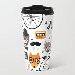 Hipster mustache animal jazz illustration design Travel Mug