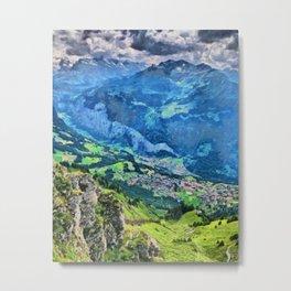 Overlooking Wengen, Switzerland from up high Metal Print