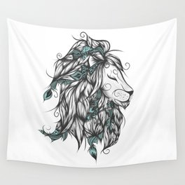 Poetic Lion Turquoise Wall Tapestry