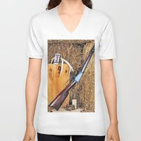 winchester V-neck T-shirts featuring Winchester Rifle by Captive Images Photography