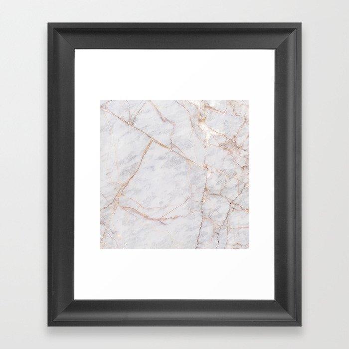 White Italian Marble & Gold Gerahmter Kunstdruck