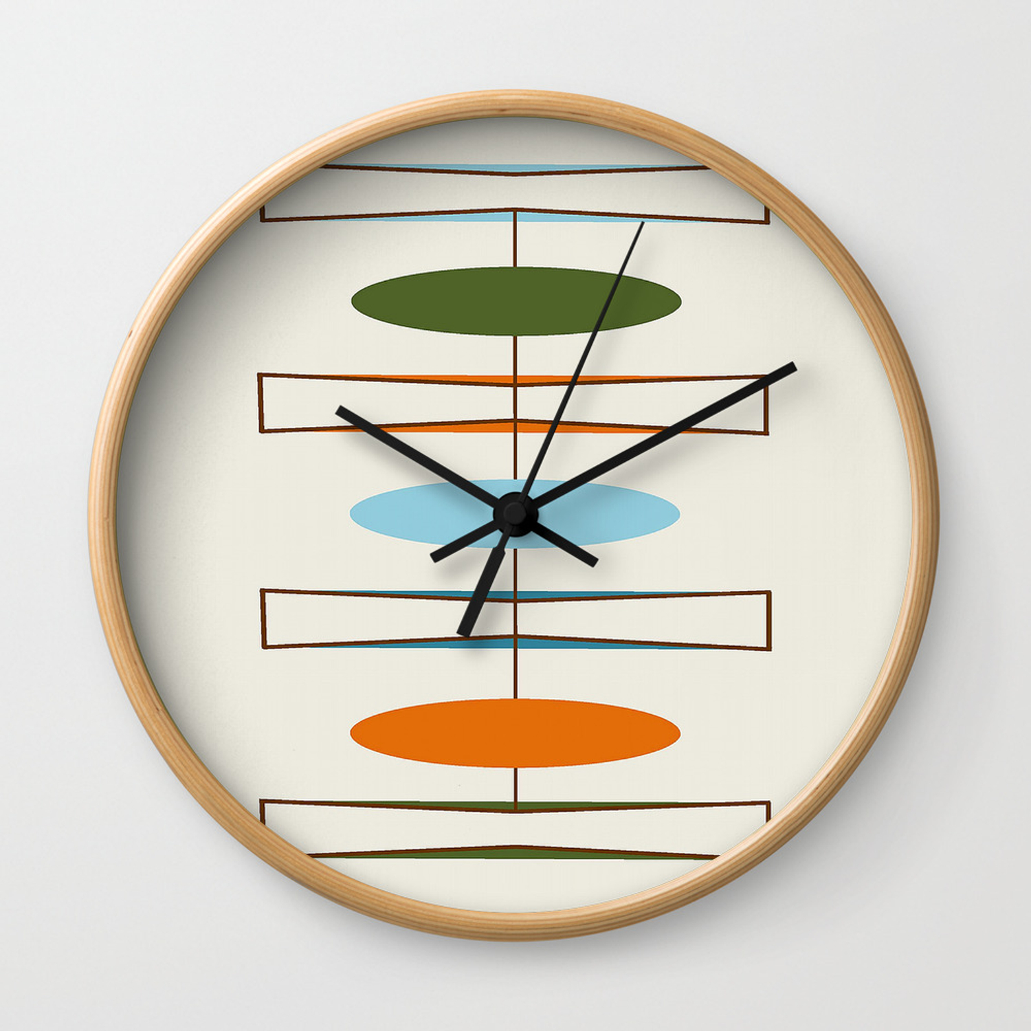 Mid Century Modern Art 1 2 Wall Clock By Oldurbanfarmhouse Society6
