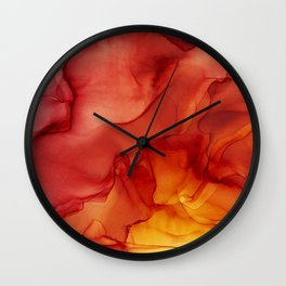 Red Sunset Abstract Ink Painting Red Orange Yellow Flame Wall Clock