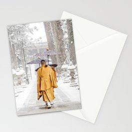 Japanese Buddhist Monks in Winter Stationery Cards