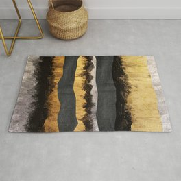 Golden Ocean Waves #1 #abstract #painting #decor #art #society6 Rug